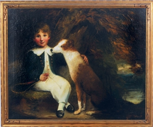 Portrait of a boy with a dog i