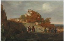 An Italianate landscape with soldiers and ruins on a hilltop beyond