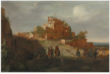 An Italianate landscape with s