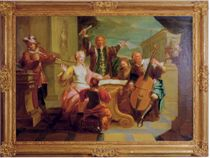 A musical company with a boy and dog; and A musical company with a man playing a viola di gamba