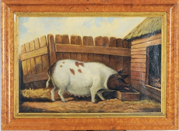 A pig by a barn
