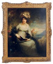 Portrait of Charlotte Lady Bernard, seated three-quarter-length, holding a book, with a coastal landscape beyond