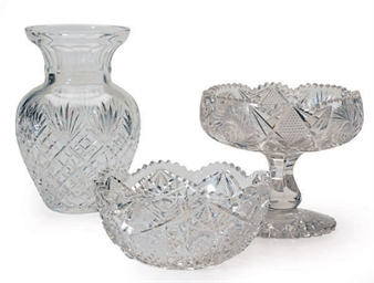 A GROUP OF CUT-GLASS ARTICLES,