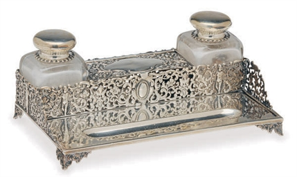 AN ENGLISH SILVER INKSTAND WIT