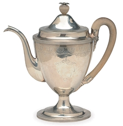 A GEORGE III SILVER TEAPOT WIT