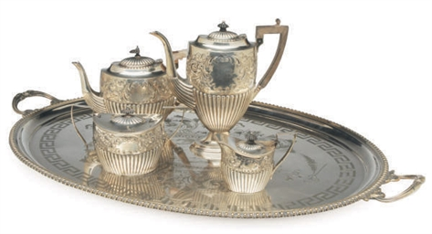 A VICTORIAN SILVER FOUR PIECE