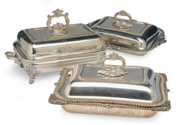 THREE PAIRS OF SILVER-PLATED E