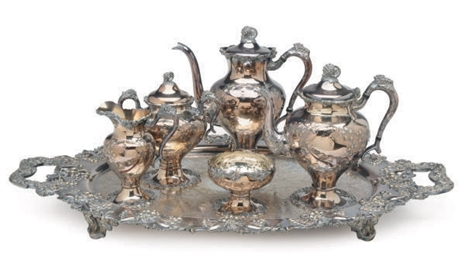 AN AMERICAN SIX PIECE SILVER-P