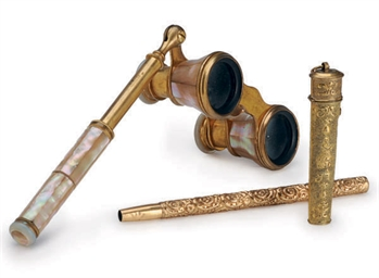A FRENCH PAIR OF BRASS AND MOT