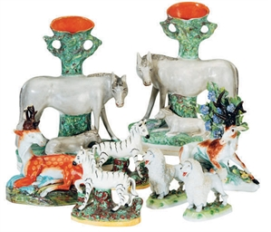 A GROUP OF STAFFORDSHIRE ANIMA
