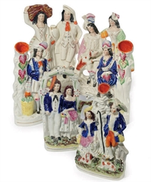 A GROUP OF TEN STAFFORDSHIRE F