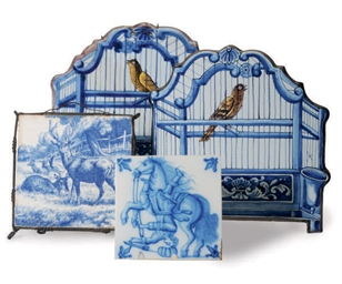 A PAIR OF DUTCH BIRDCAGE TILES