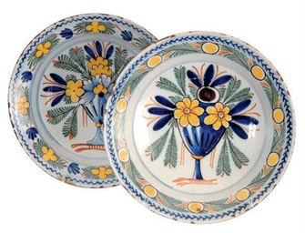 TWO DUTCH DELFT POLYCHROME DEC