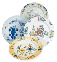 FOUR ENGLISH DELFT DISHES,