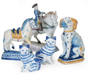 A GROUP OF DELFT ANIMALS,