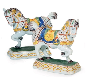A PAIR OF DUTCH DELFT HORSES,