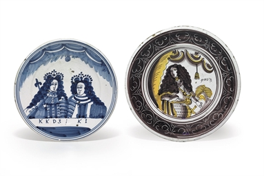 TWO DUTCH DELFT ROYALIST PORTR