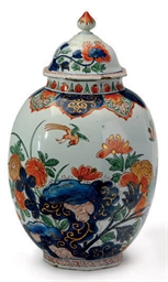 A DUTCH DELFT DORE VASE AND CO