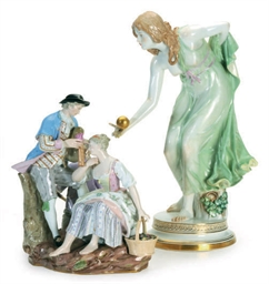 A GERMAN PORCELAIN FIGURE OF A