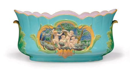 AN ENGLISH MAJOLICA TURQUOISE-