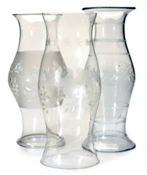 THREE ETCHED GLASS HURRICANE S