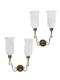 A SET OF SIX BRASS AND GLASS T