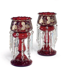 A PAIR OF VICTORIAN RUBY-GLASS