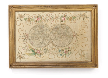 A FRAMED SILK EMBOIDERED MAP O