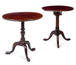 TWO GEORGE III MAHOGANY TRIPOD