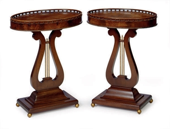 A PAIR OF MAHOGANY OVAL SIDE T