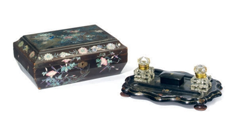 A VICTORIAN BLACK LACQUERED AN