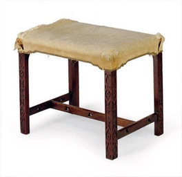 AN ENGLISH MAHOGANY FOOT STOOL
