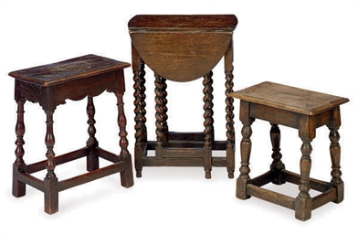 TWO ENGLISH OAK JOINT STOOLS,