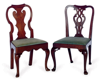 TWO ENGLISH MAHOGANY DINING CH
