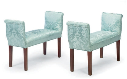 A PAIR OF POWDER BLUE DAMASK-U