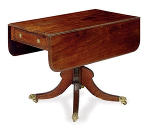 A LATE REGENCY MAHOGANY DROP-L