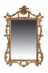 AN ENGLISH GILTWOOD MIRROR,
