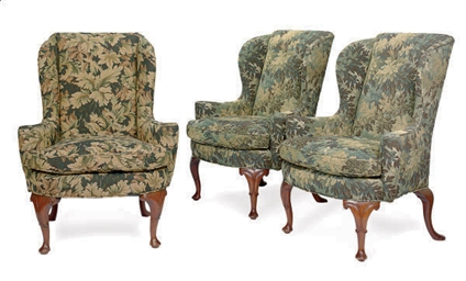 A PAIR OF WALNUT WINGBACK ARMC