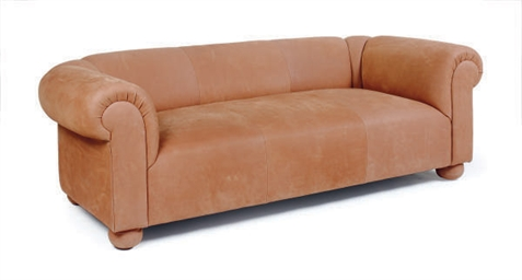 A BROWN-SUEDE SOFA,