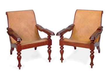 A PAIR OF HARDWOOD AND RATTAN