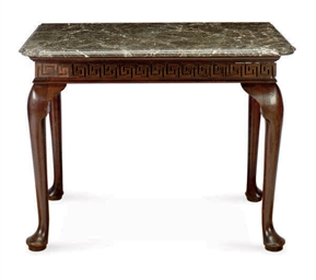 AN ENGLISH MAHOGANY AND MARBLE