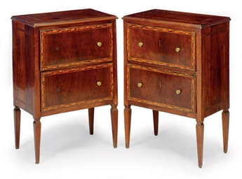 A PAIR OF ITALIAN INLAID WALNU