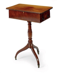 A REGENCY MAHOGANY WORK TABLE,