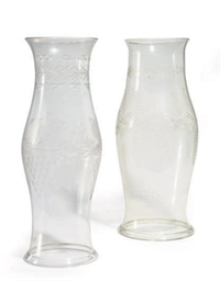 TWO VICTORIAN ETCHED GLASS HUR