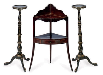 A PAIR OF BLACK AND GILT-DECOR