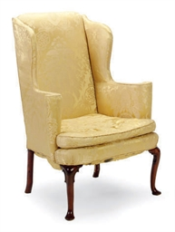 A QUEEN ANNE WALNUT AND BEECH WINGBACK ARMCHAIR,