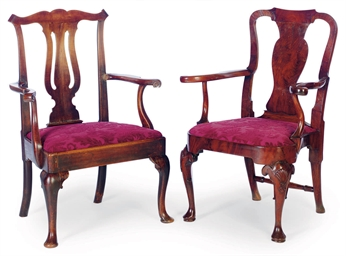 TWO ENGLISH OPEN ARMCHAIRS,
