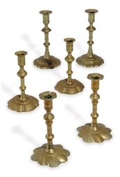 THREE PAIRS OF ENGLISH BRASS C