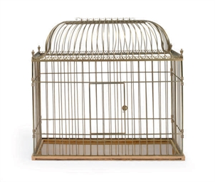 A FRENCH GILT-METAL BIRDCAGE,