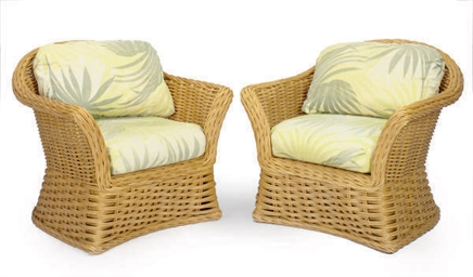 A PAIR OF WOVEN RATTAN BARREL